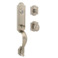 Prestige Avendale Single Cylinder Satin Nickel Handle Set with Carnaby Entry Knob and SmartKey