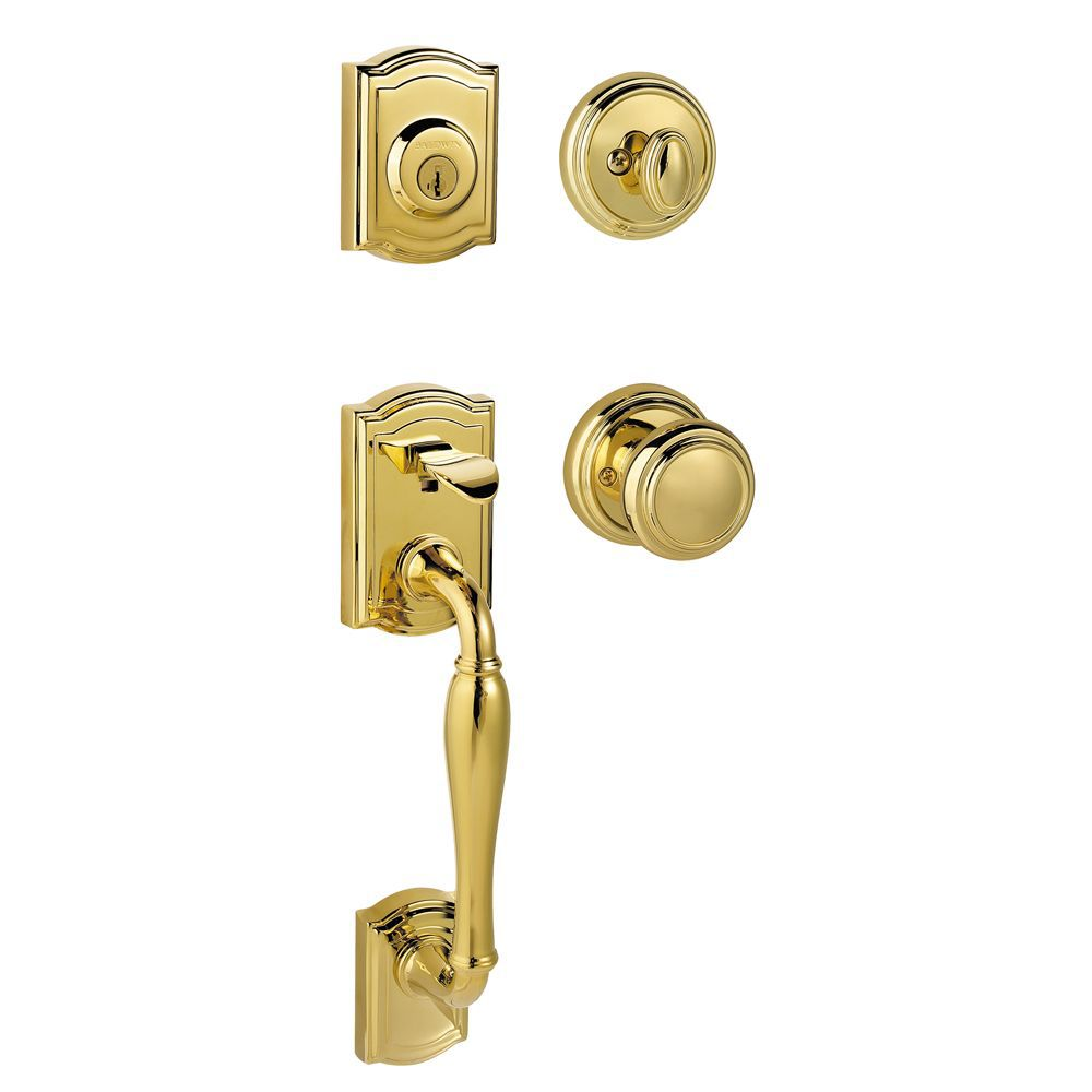 Prestige Wesley Single Cylinder Lifetime Polished Brass Handle Set with Alcott Entry Knob and Sma...
