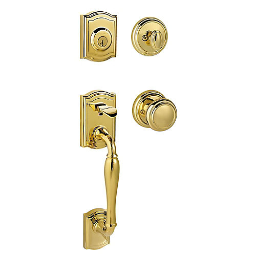 Prestige Wesley Single Cylinder Lifetime Polished Brass Handle Set with Alcott Entry Knob and SmartKey