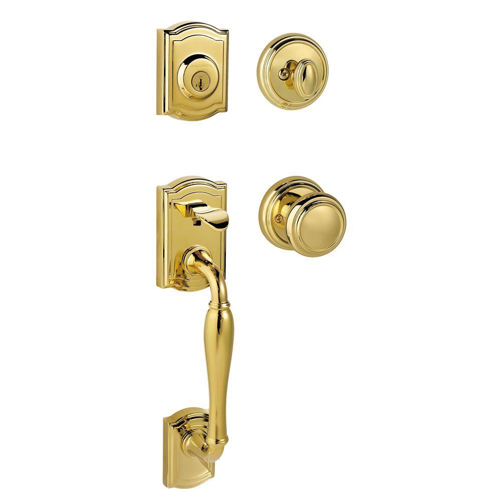 Serrure d'entrée Prestige Wesley à cylindre simple, fini Polished Brass garanti à vie, avec bouto...