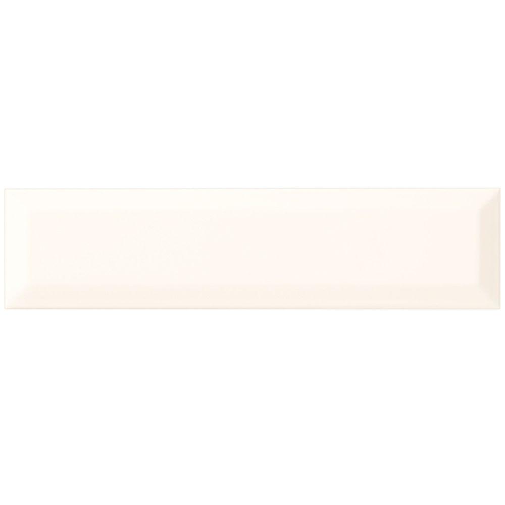 Carreau mural 7,6cmx30,5cm (3pox 12po) en céramique avec bord biseauté blanc éclatant Fine...