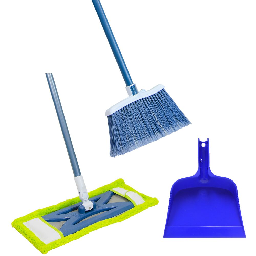 3 Pack Combo - Microfiber Dust Mop / Angle Broom & Dust Pan