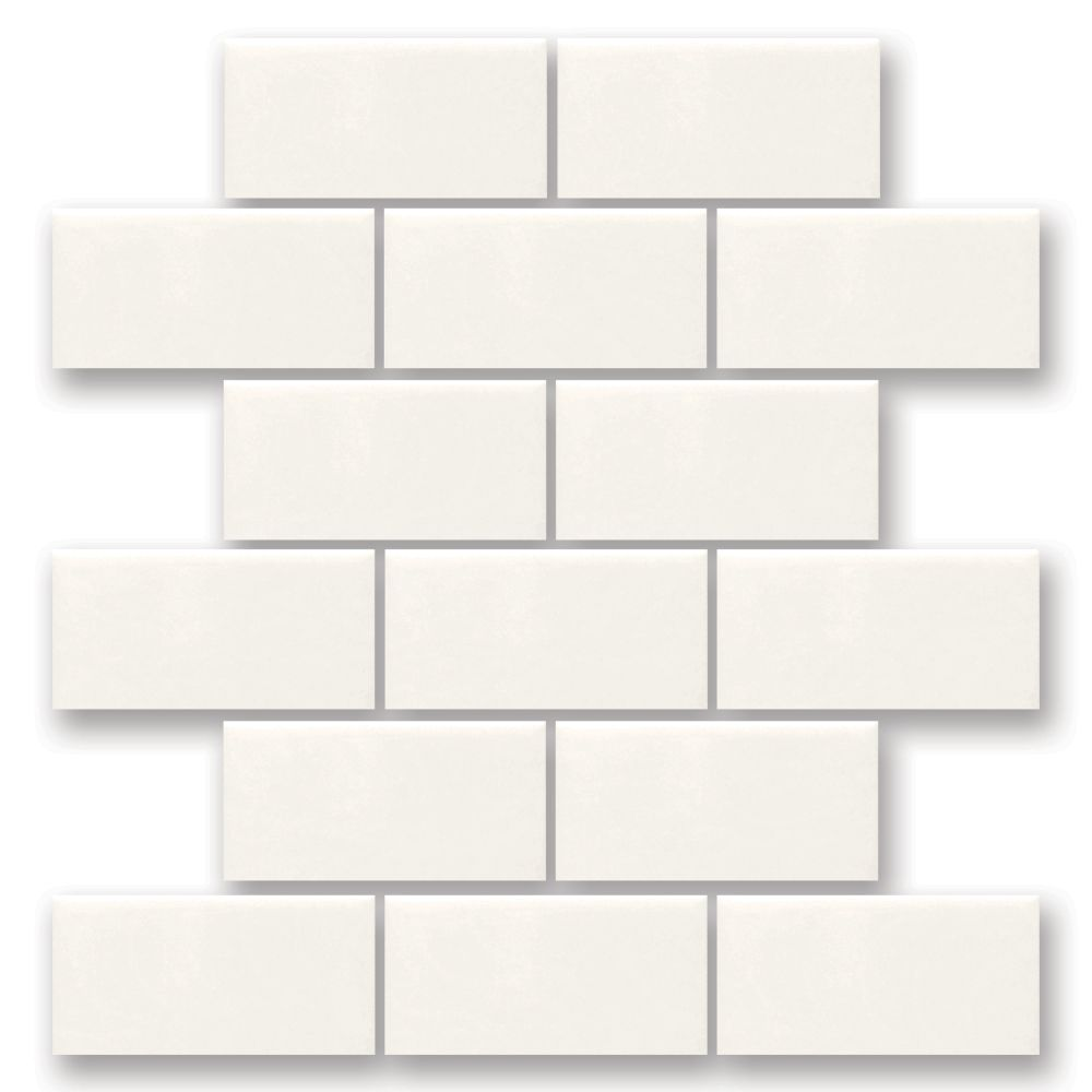 Finesse 12-inch x 12-inch x 8 mm Ceramic Mosaic Wall Tile in White