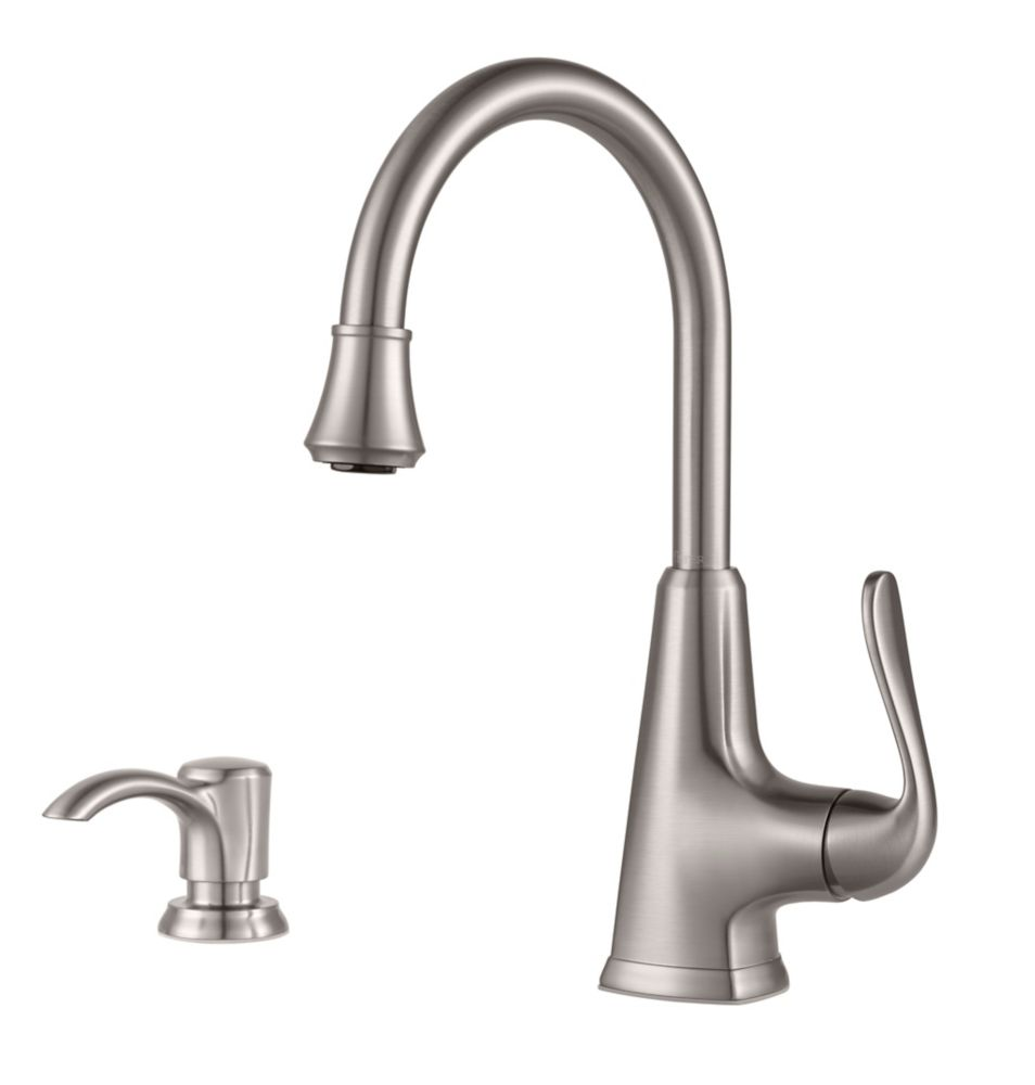 Pasadena Single-Handle Tri-Flow Bar and Prep Faucet in Stainless Steel