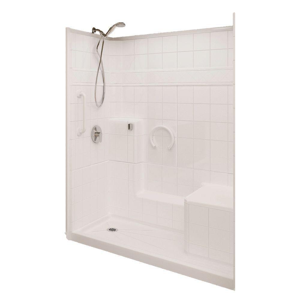 Prestige 32-Inch  x 60-Inch  x 77-Inch  3-Piece Shower Stall in White