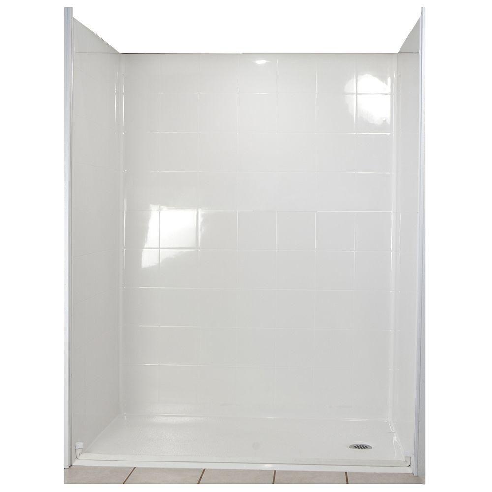 Standard 31 po x 60 po x 77-1/2 po, douche de plein pied à murs adaptables et ensemble de base en...