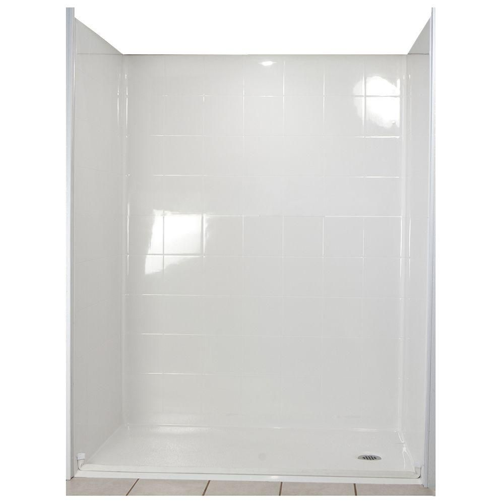 Ella Standard 33-4/12 Inch x 60 Inch x 77-1/2 Inch Barrier Free Roll in Shower Wall and Base Kit in White with Right Drain 6033 BF 5P 1 0 R WH ST Canada Discount