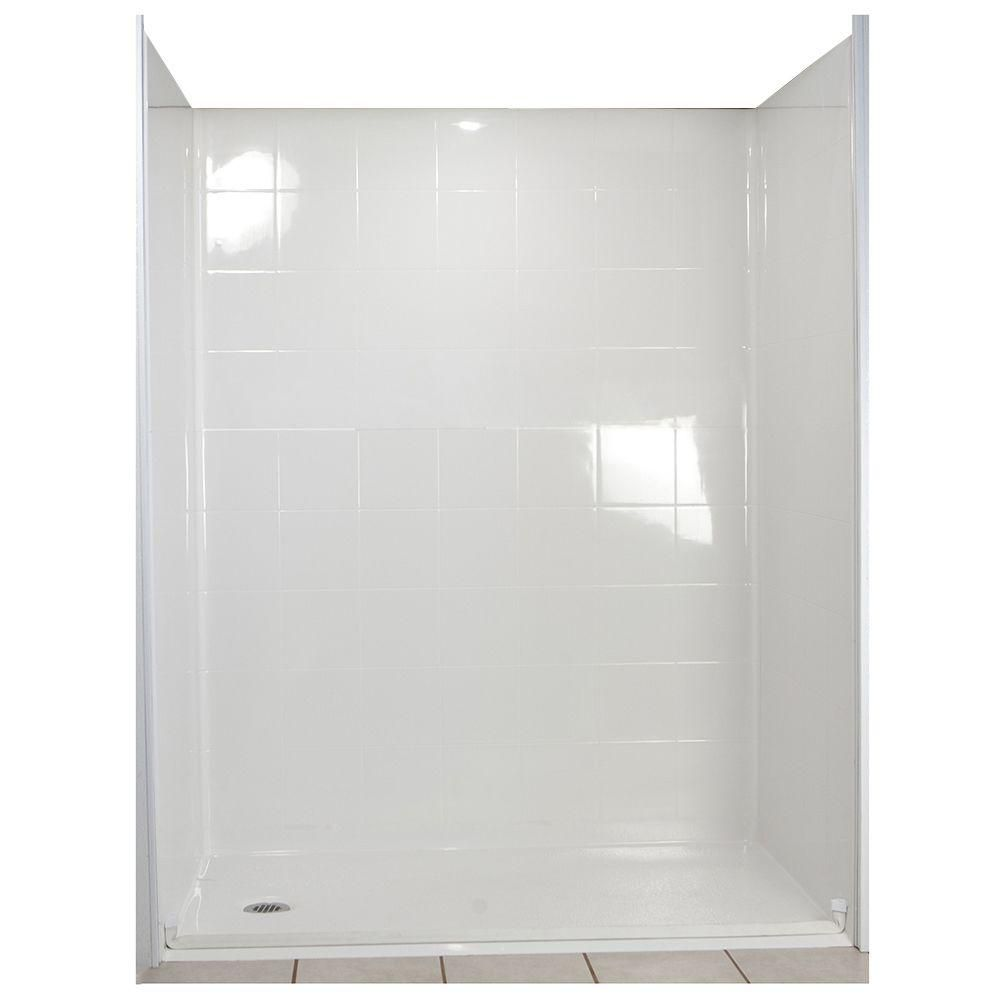 Standard 33 1/2-Inch  x 60-Inch  x 77 1/2-Inch  5-Piece Barrier Free Roll In Shower Stall in Whit...
