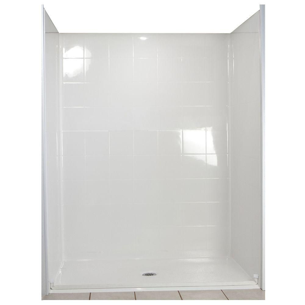 Standard 33-4/12 Inch x 60 Inch x 77-1/2 Inch Barrier Free Roll in Shower Wall and Base Kit in Wh...