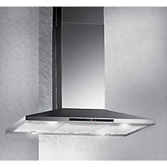 36-inch Island Range Hood with LED Display in Stainless Steel