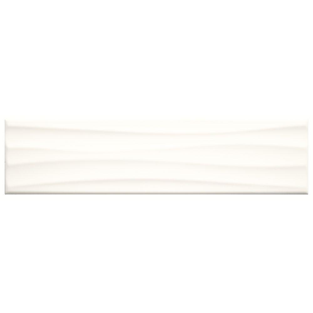 Carreau mural 10,2cmx 40,6cm (4pox 16po) en céramique, texture ondulée blanc éclatant Fines...