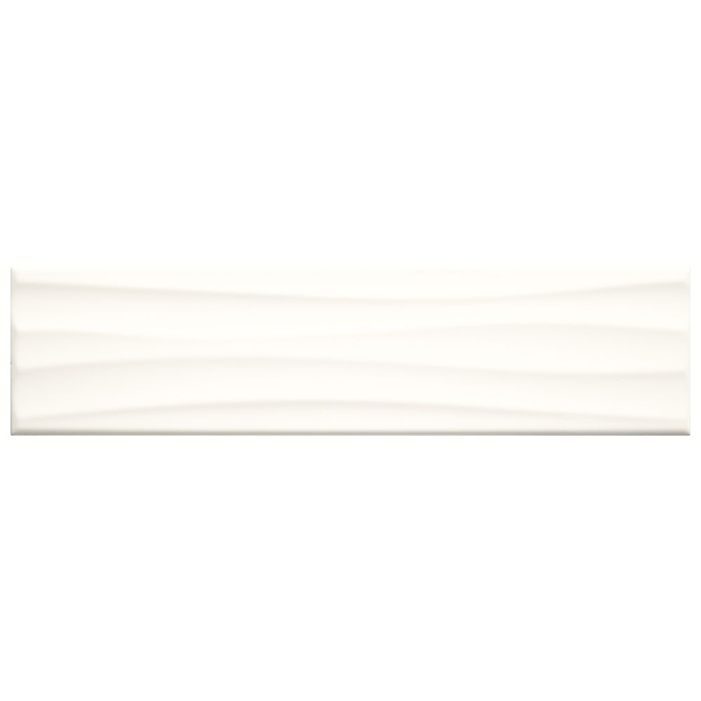 Finesse 4-inch x 16-inch Ceramic Wavy Wall Tile in Bright White (10.75 sq. ft./case)