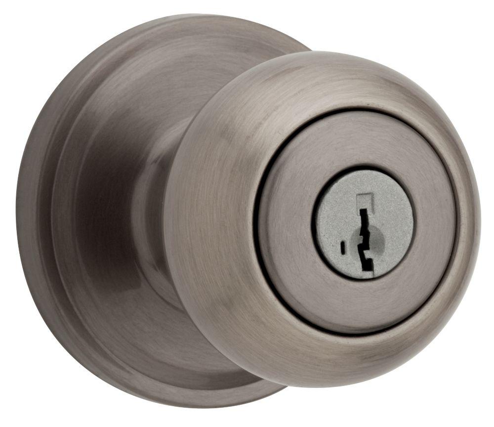 Troy serrure dentrée à clé bouton Antique Nickel