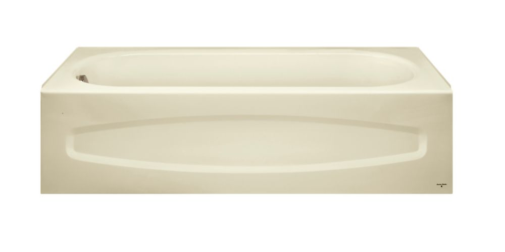 Cadet Enamel Steel Bathtub with Right-Hand Outlet in Bone