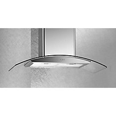 36-inch Island Range Hood with Glass Canopy and Stainless Steel Body