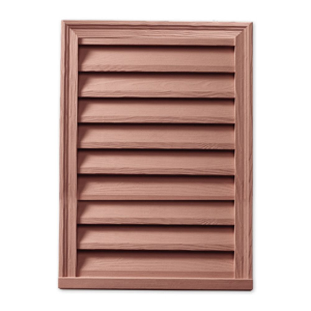 12-inch x 24-inch x 2-inch Polyurethane Wood Grain Rectangle Vertical Louver Gable Grill Vent