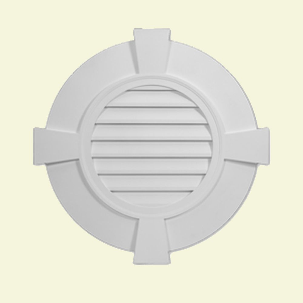 32 27/32-inch x 2 13/51-inch Polyurethane Round Louver Gable Grill Vent with Flat Trim and Keysto...