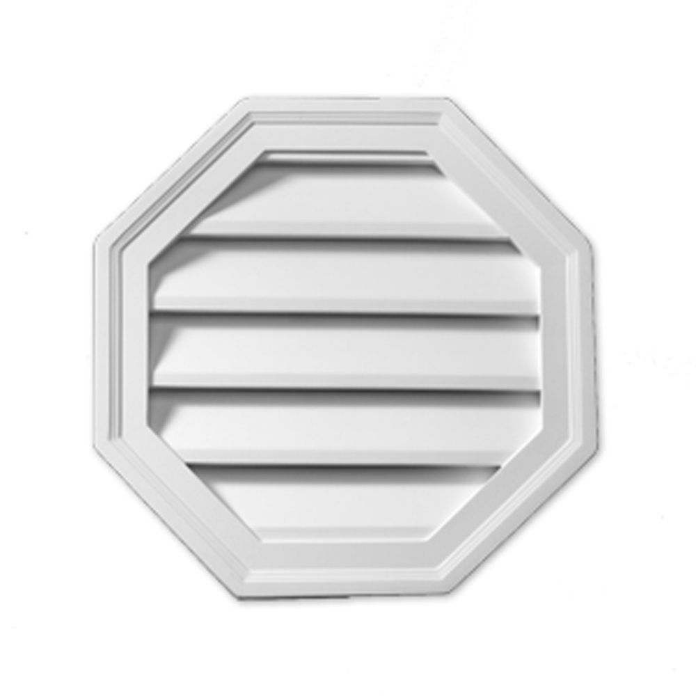 28 Inch x 28 Inch x 1-5/8 Inch Polyurethane Decorative Octagon Louver Gable Grill Vent