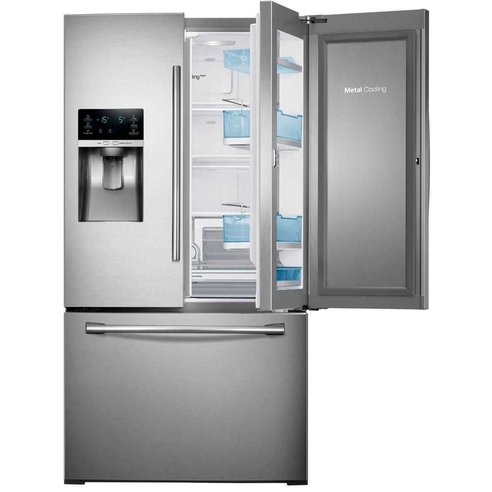 Samsung 28 Cu Ft French Door Refrigerator In Stainless Steel The Home Dep