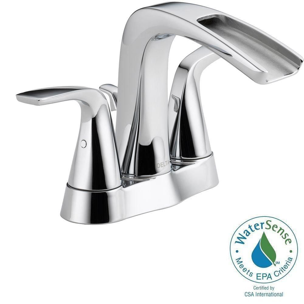 Delta Tolva Centerset (4-inch) 2-Handle High Arc Bathroom Faucet in Chrome with Lever Handles