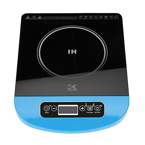 Glass Induction Cooking Plate with LED Display in Blue
