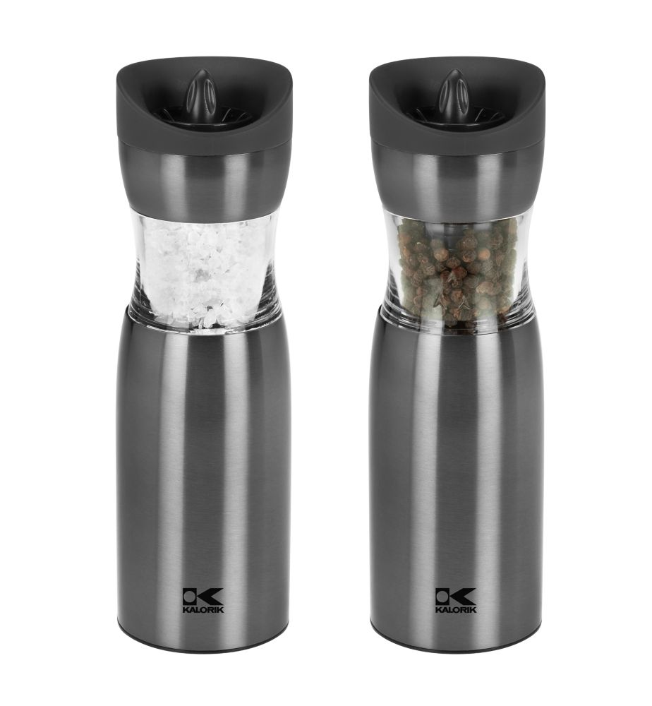Kalorik Gunmetal Gravity Salt And Pepper Grinder Set The