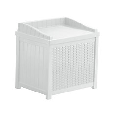 2.9 cu. ft. Resin Wicker Deck Box with Seat in White
