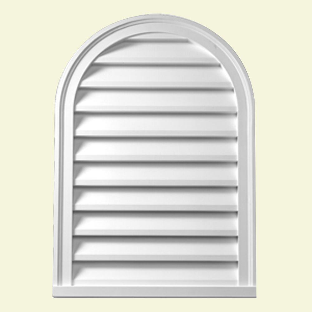 22-inch x 31 1/2-inch x 2-inch Polyurethane Decorative Cathedral Louver Gable Grill Vent