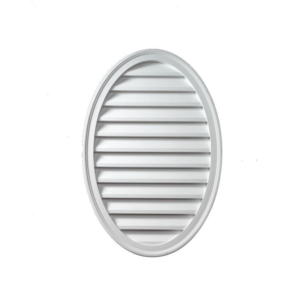 Évent de pignon décoratif ovale vertical à persiennes en polyuréthane 24 po x 12 po x 1-5/8 po