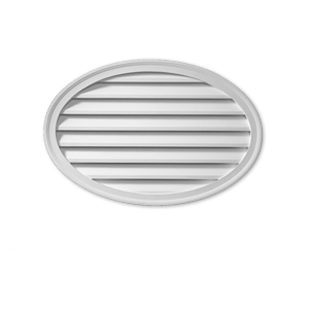 37 Inch x 24-1/2 Inch x 1-5/8 Inch Polyurethane Decorative Oval Horizontal Louver Gable Grill Ven...