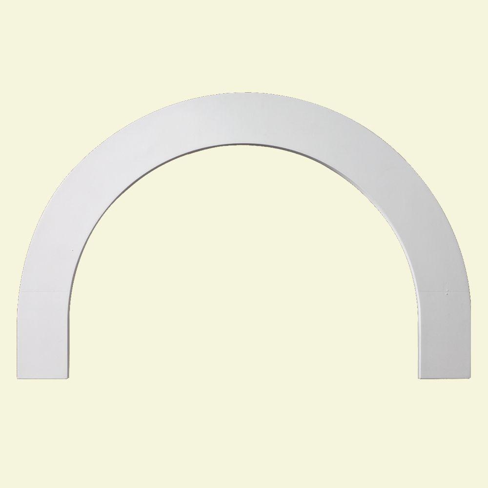 Moulure plate en demi-cercle en polyuréthane 31-1/8 po x 19-9/16 po x 1 po