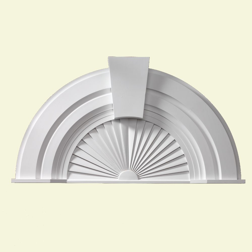 56 Inch x 30-1/16 Inch x 2-3/4 Inch Half Round Sunburst Pediment with Keystone AR36X10SK in Canada