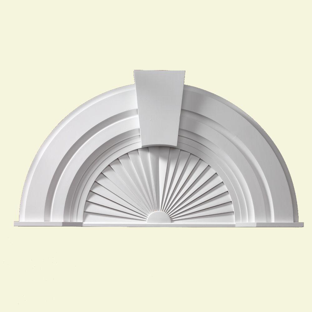 56 Inch x 30-1/16 Inch x 2-3/4 Inch Half Round Sunburst Pediment with Keystone