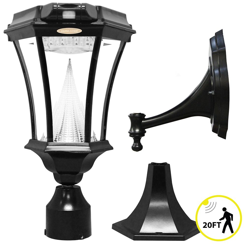 Victorian Solar-Charged LED Lantern Plus Motion Sensor, Black Finish