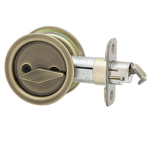 1031 Antique Brass Round Pocket Door Privacy Lock