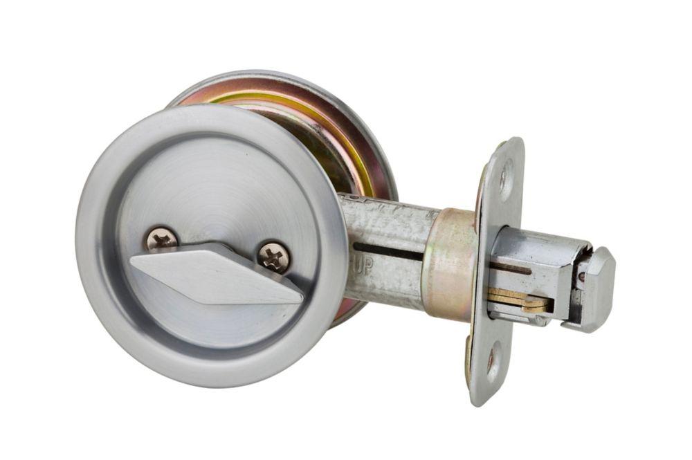 1031 Satin Chrome Round Pocket Door Privacy Lock