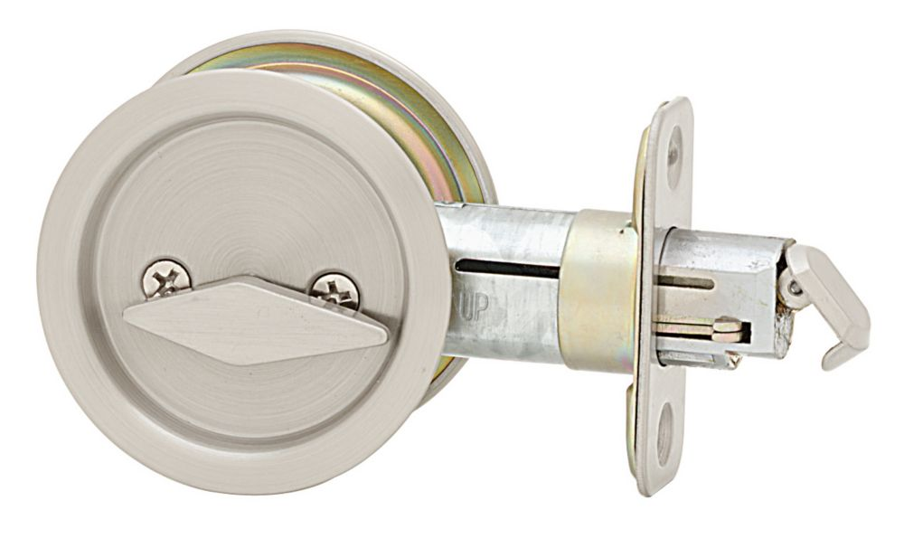 1031 Satin Nickel Round Pocket Door Privacy Lock