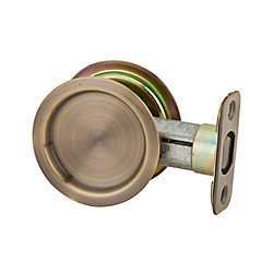 1030 Round Antique Brass Pocket Door Passage Lock
