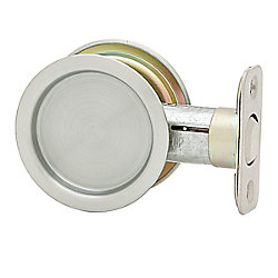 1030 Round Satin Chrome Pocket Door Passage Lock