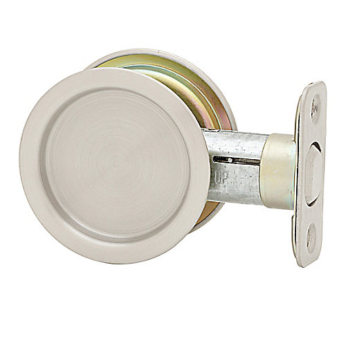 Round Pocket Door Passage Lock in Round Satin Nickel