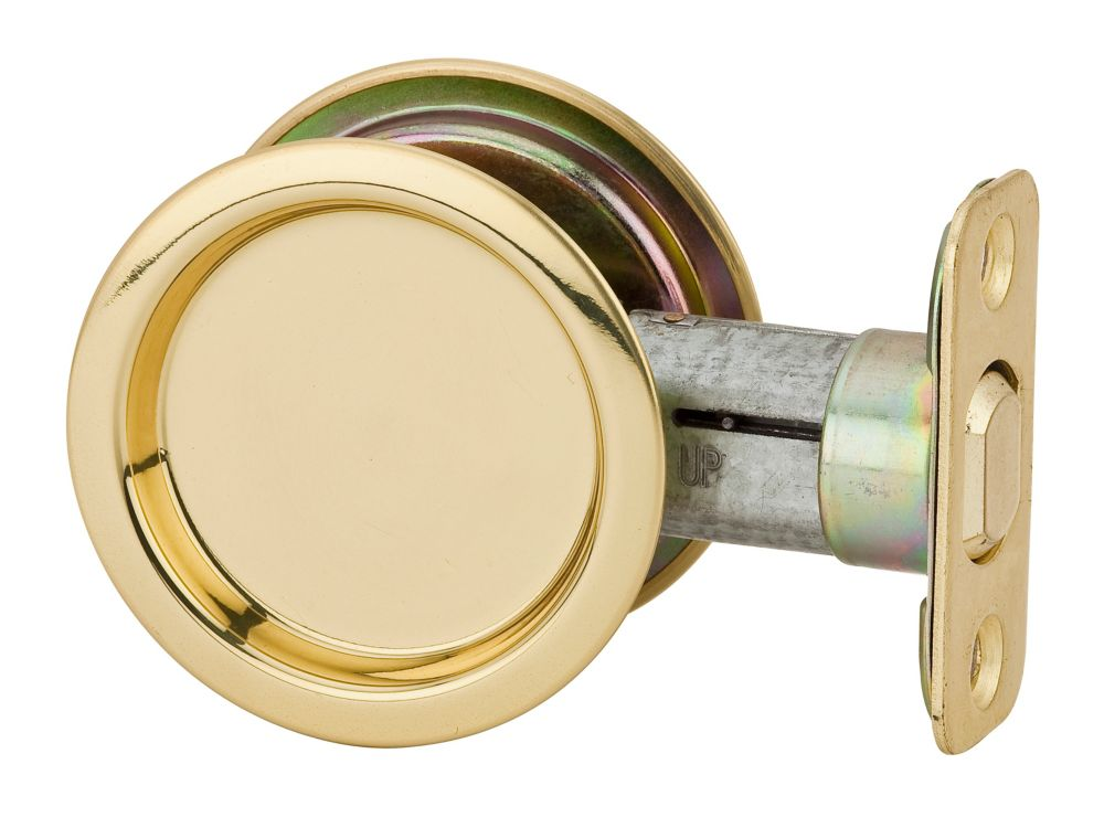 1030 Round Passage Pocket Door Lock in Polished Brass 9WR10300-001 Canada Discount