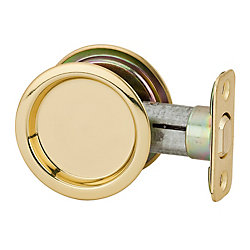 1030 Round Polished Brass Pocket Door Passage Lock