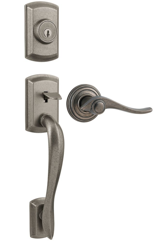 Avalon Single Cylinder Rustic Pewter Handle Set with Avalon Lever