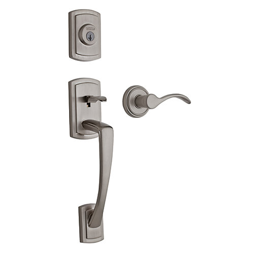 Grayson Single Cylinder Satin Nickel Handle Set with Trapani Lever
