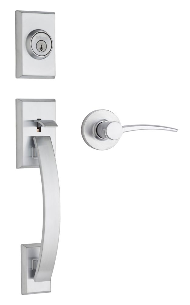 Tavaris Single Cylinder Satin Chrome Handle Set with Katara Lever