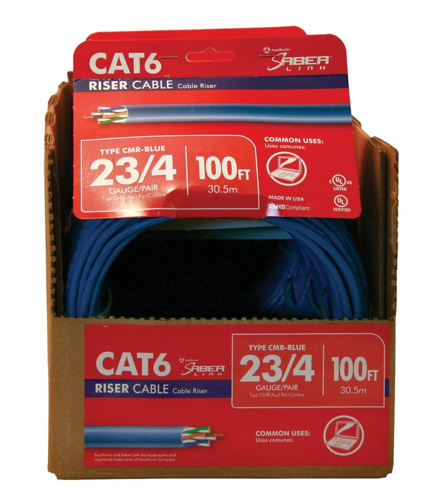 Câble bleu CAT 6E 23 4paires, longueur 100 pi