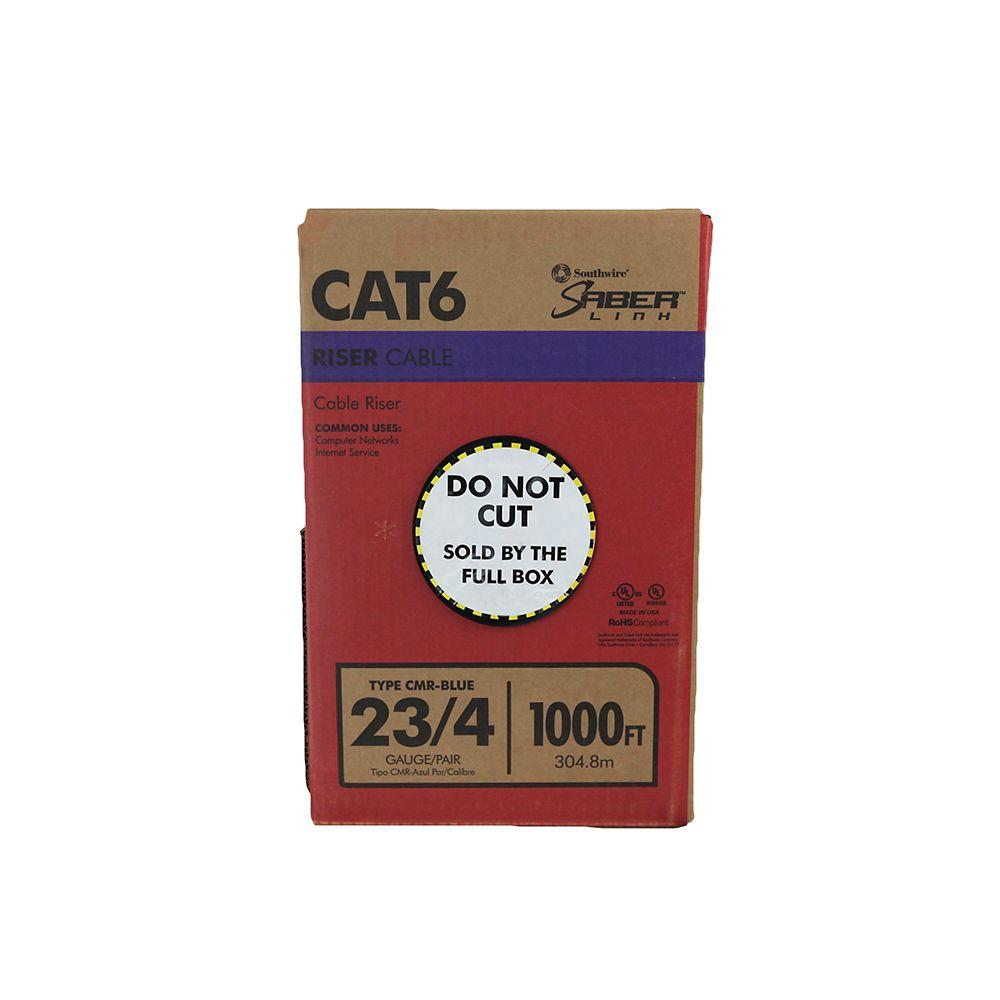 Câble bleu CAT 6E 23 4 paires, longueur 1000 pi