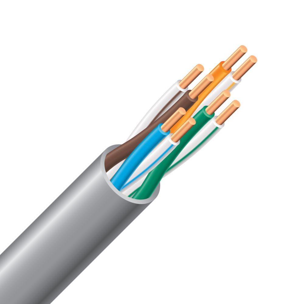Câble électrique montant CAT 5e � 24/4 gris 300 m