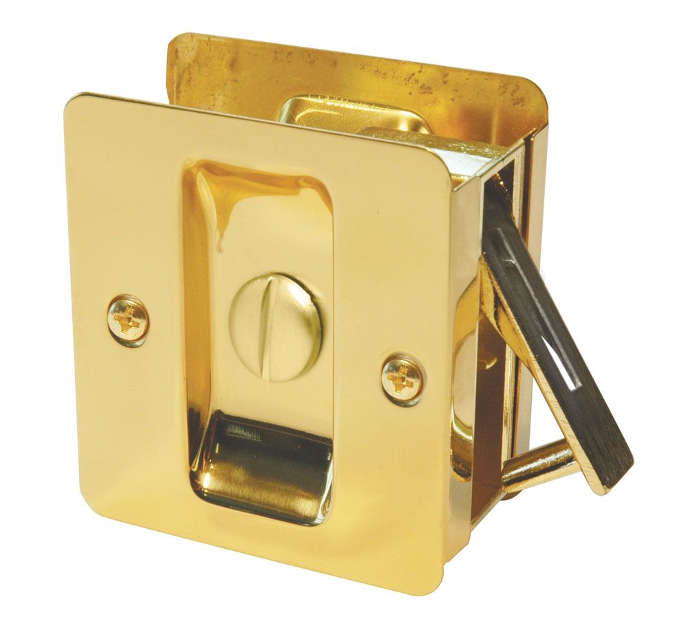 1031 Polished Brass Square Privacy Pocket Door Lock