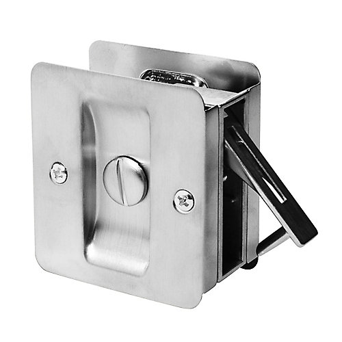 1031 Satin Chrome Square Privacy Pocket Door Lock